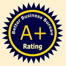 Better Business Bureau A+ rating logo.