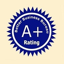 Better Business Bureau A+ rating logo.